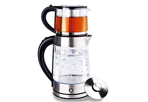 Glas Edelstahl Wasserkocher Wasserkessel Teekocher Teekessel Caymatik 1,7 Liter mit LED-Beleuchtung Warmhaltefunktion Abschaltautomatik