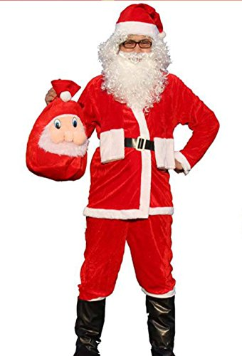 Traje de Papá Noel para Hombre, Papá Noel, 4 Piezas, Disfraz, Disfraz, tamaño Adulto