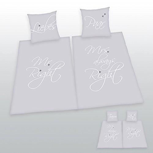 Klaus Herding GmbH Bettwäsche Doppelpack Mr. & Mrs. Right 2X Bezug 135x200cm 2X Kissen 80x80cm Hochzeitsgeschenk Wendemotiv 100% Baumwolle