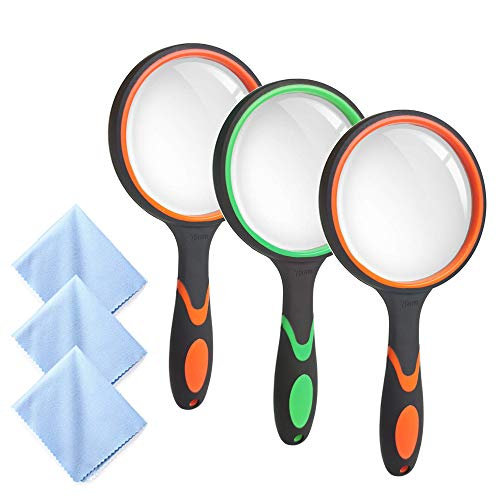 3 Pack Handheld Magnifying Glass Authentic 10X Reading Magnifier for Kids Seniors, Creatiee 75mm Thickened Magnifying Lens for Book Newspapers Reading, Hobby Observation, Classroom