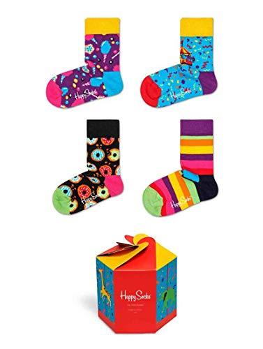 Happy Socks Babys und Kinder Baumwollsocken in Karussell-Geschenkbox Packung mit 4 Gemischt 12-24 Monate
