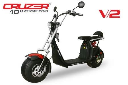 Cruzer S10 Eco V2 1500W 60V 20Ah 8 inch met toelating lithium-ion batterij 45km/h en 20km/h scooter scooter bromfiets 45 km/h matzwart