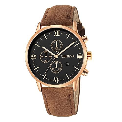 Kannertid Ginebra - Reloj de Hombre Elegante Geneva (Cuerpo Dorado Rosa, Fondo Negro, números Dorado Rosa y Correa Beige)