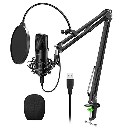 YOTTO USB Microphone Cardioid Condenser Mic 192KHz/24bit Plug and Play Professional Studio Podcast Microphone with Adjustable Microphone Stand Suspension Scissor Boom Arm, Pop Filter, Shock Mount