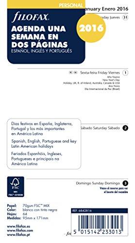 Filofax Terminplaner 2016, Wochenansicht auf 2 Seiten, Spanisch/Englisch/Portugiesisch