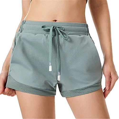 Shorts de Deporte Mujer Pantalones cortos de deporte de las mujeres seco rápido con malla de cintura elástica bolsillos alta cintura fitness gimnasio entrenamiento entrenamiento yoga pantalones cortos