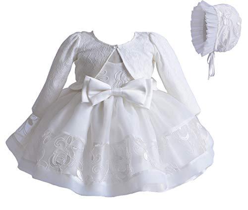 Carolilly Vestito Battesimo Bambina Neonata Abito in Pizzo Bianco 3 Pezzi Coprispalla Elegante+Abito Bianco+Cappello Cerimonia Matrimonio