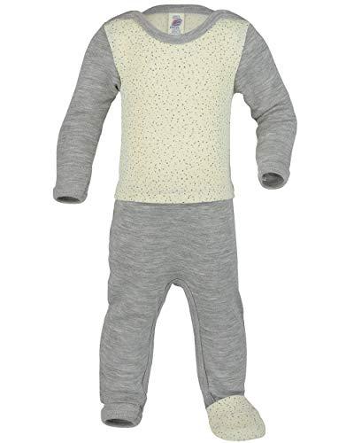Engel Natur, Baby Overall mit Umschlag am Fuß, 70% Wolle (kbT), 30% Seide (50/56, Natur/Grau (bedruckt))