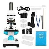 顕微鏡 200X-2000X顕微鏡 顕微鏡スライドキット 携帯電話アダプター アクセサリーを装備し 学校の実験室の家族の生物科学研究教育に適しています