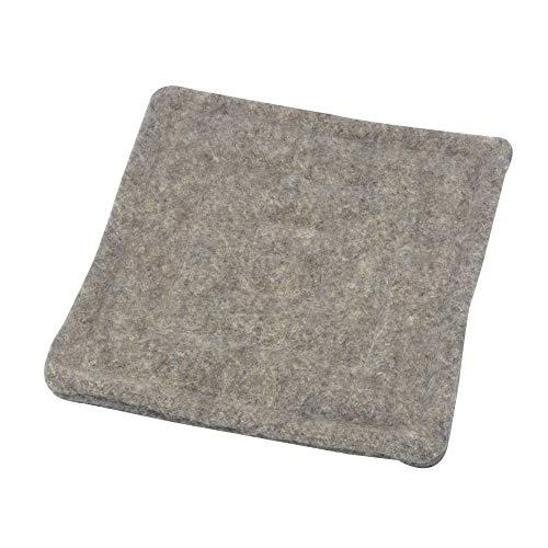 acerto 40418 Wollfilz Sitzkissen 40x40cm grau 100% biologische Schafwolle warm Handgemacht