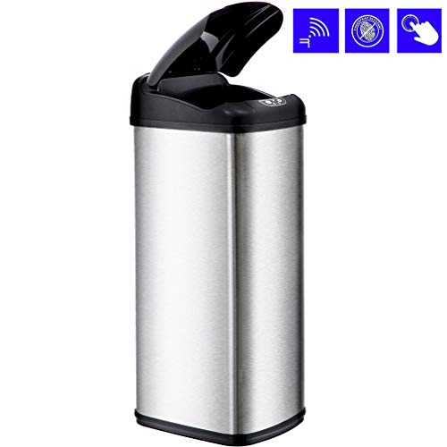 BestOffice Kitchen Trash can Bathroom Trash can with lid Automatic Touch Free Trash can Stainless Steel Trash can 13 Gallon / 50L