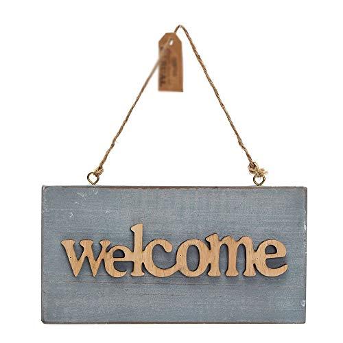 Engfgh Vintage Azul De Bienvenida De Madera Cartel, Usada For Cafe For Abrir Y Cerrar La Puerta De La Tienda Muestra Colgante, Colgantes Artesanía Decoración (Color : Welcome)
