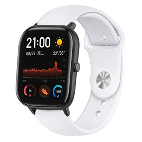 Comtax Compatible with Huami Amazfit Bip/GTR 42mm/ GTS バンド 20mmシリコン製交換ベルト Samsung Galaxy Active 2/ Gear Sport 対応 (ホワイト)