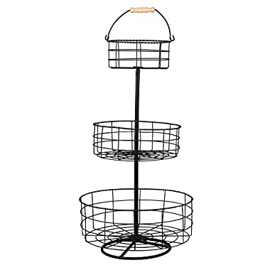 It's Useful 3 Tier Iron Basket Display Fruit, Food & Kitchen Items