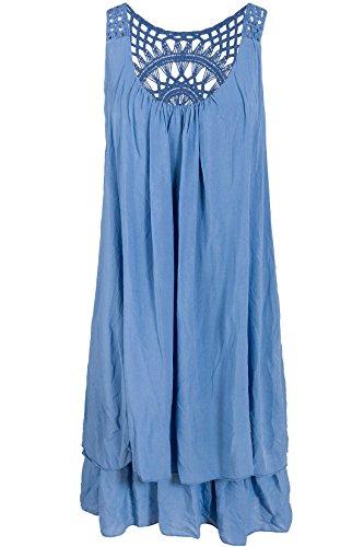 Italienische Mode Sommerkleid mit Spitze am Rücken Tunikakleid Knielang Lichtblau 38+40