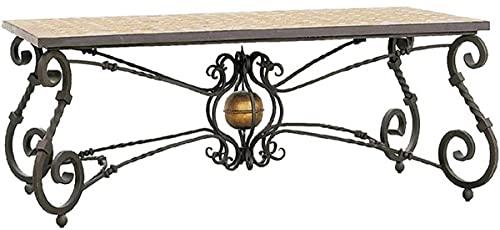 Casa Padrino Mesa de Comedor Barroco de Lujo Beige/Gris/latón - Mesa de jardín de Hierro Forjado con Tablero de Mosaico de Piedra Natural - Muebles de Sala de Estar Jardín Patio