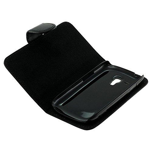 Mobilfunk Krause Book Case Etui Handytasche Tasche Hülle für Samsung GT-I8200 / I8200 (Schwarz)
