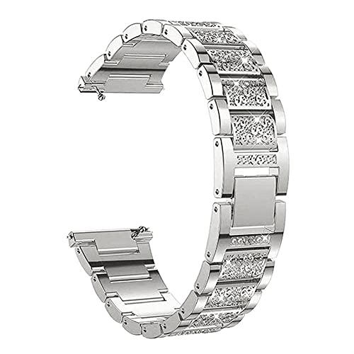 Pulsera De Las Mujeres Para Samsun Galaxy Watch 3 Band 41/45/42 / 46mm Active 2 1 Metal Diamond Watch Strap 10688 (Band Color : Silver, Band Width : 20mm)