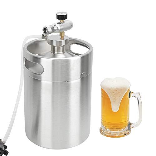 Bierfass, 5L 304 Edelstahl Bierflasche Home Brewing Tools Bierfass Speerhahn Manometer Set mit Schraubverschluss