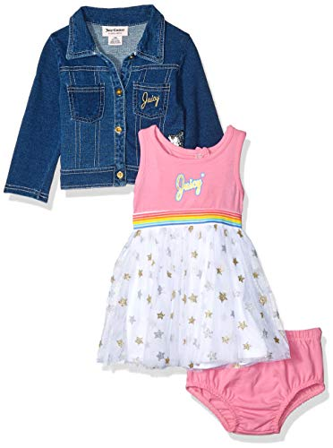 Juicy Couture Baby Girls 3 Pieces Dress Set, Pink/Blue/Print, 18M