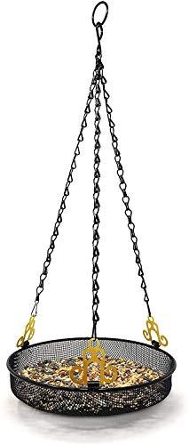 Conejito gris colgantes bandeja del alimentador de aves con un fuerte doble gancho for colgar Cadena de acero colgantes alimentador del pájaro Plataforma Plato 9,25 pulgadas (diámetro) Con 19 pulgadas