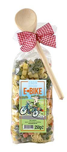 Pasta Präsent E-Bike, Fahrradnudeln, dekoriert mit Kochlöffel und Schleife