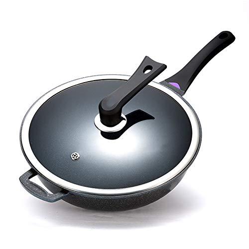 Wok Antiadherente con Tapa - Artículos Básicos para El Hogar Y Cocina - para Saltear Sartén Grande con Base De Aluminio De 32 Cm - Recubrimiento Antiadherente para Sartén De Inducción,32CM