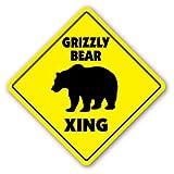 WallAdorn Grizzly Bear Crossing Xing Black Brown Kodiak