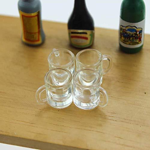 Ruby569y Puppenhauszubehör für DIY, 1/6 1/12 Miniatur-Bierkrug Becher Puppenhaus-Zubehör, Spielspielzeug – Transparent
