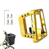 Soporte De Bolsa Portátil para Bicicleta De Aleación De Aluminio con Bloque De Soporte Frontal De Ciclo De Tornillo para Accesorios De Bicicleta De Montaña Brompton Dorado