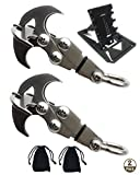 NACETURE Small Gravity Hook - Mini Pocket Size Rock Climbing Gear and Tool Card - Grappling Hook Survival Gadgets Edc Tool Climbing Hook Multifunctional Claw For Outdoor Survival Life (2 Pack)
