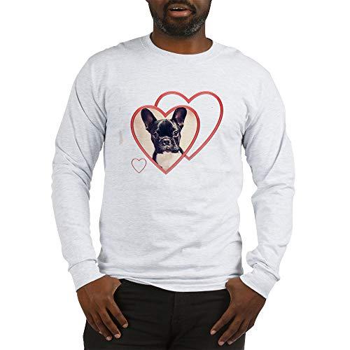 CafePress Valentine39;S French Bulldog Long Sleeve T Shirt Unisex Cotton Long Sleeve T-Shirt Ash Gray