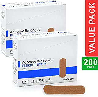 """Flexible Fabric Adhesive Bandages, 1"""" x 3"""", with Absorbent Non-Stick Pad, for Wound Care and First Aid. All One Size, 200 Count"""