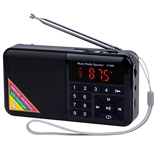 Totento Mini Radio Portatile FM con Altoparlante e Torcia a LED, Tascabile Radio Ricaricabile da 1500mAh con Lettore musicale MP3 Supporto Micro SD USB Drive, AUX-in, Auricolare Jack (Nero)