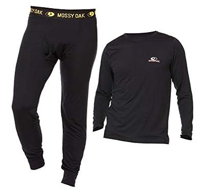 Mossy Oak Mens Thermal Underwear Set - Ultra Soft Base Layer Men Cold Weather Long Johns (Black, 2X-Large)