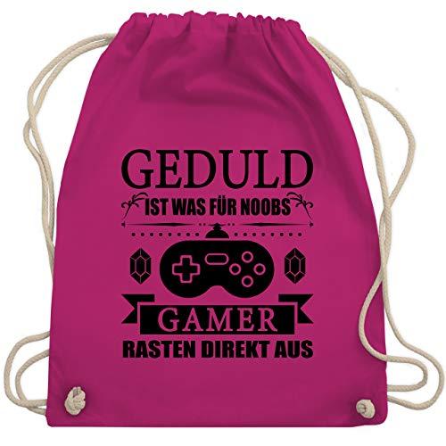 Shirtracer Nerd Geschenke - Geduld ist was für Noobs - Gamer rasten direkt aus - schwarz - Unisize - Fuchsia - Geschenk - WM110 - Turnbeutel und Stoffbeutel aus Baumwolle
