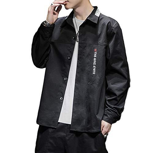Camisa de Manga Larga Estampada para Hombre Moda Relajada Casual Todo-fósforo Tendencia cómoda Camisas de Carga con Empalme Atractivo Chaqueta XL