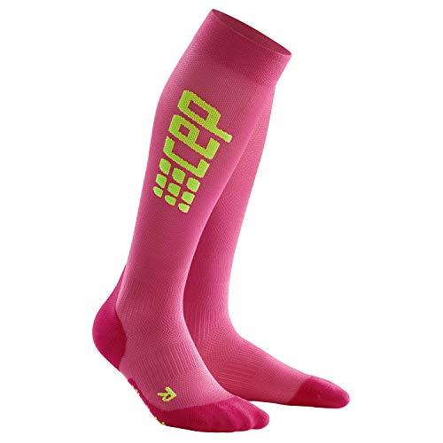 CEP - Run Ultralight Socks für Damen | Extra leichte knielange Laufsocken in pink/grün | Größe III