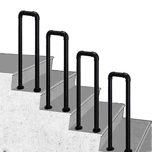 ZRN agarraderas baño Pasamanos para escalones, Negro en Forma de U de Hierro Forjado para Interiores y Exteriores Barandilla para escaleras, Pasillo, desván, jardín, Seguridad, Soporte, balaus