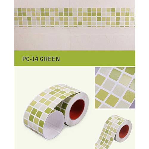 Haus Dekoration 100x9.5CM Schlafzimmer Wohnzimmer Wasserdicht Skirting Taillen-Linie Wand-Sticker Toilette Badezimmer-Fliesen-Aufkleber Mosaik-Tapete Border (Color : PC 14, Size : 1M x 9.5CM)