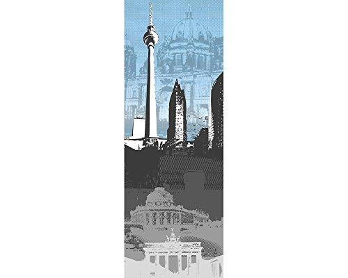 awallo Dekopanel Motiv Skyline Berlin in den Farben Blau, Grau, Schwarz, Weiss Fototapete in 100x280cm auf Vliestapete Made in Germany einfache und schnelle Verarbeitung