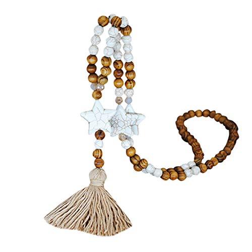 Collar con pompón para mujer, estilo bohemio, con colgante de madera anudado a mano, perlas de madera, largo collar colgante cadena de suéter bohemio accesorios
