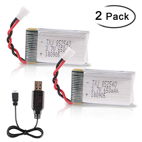 Crazepony-UK 2pcs 1s Akku 3.7V 650mAh Lipo Battery with USB Charger Ladegerät for RC Syma X5 Serial UAV Drone Vehicle