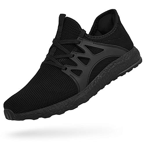 Feetmat Womens All Black Sneakers Ultra Lightweight Breathable Mesh Athletic Walking Running Shoes Black 9