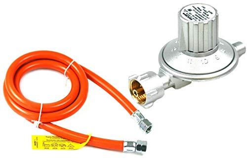 Rabenburg Niederdruckregler + Gasschlauch 25-50mbar verstellbar - Druckregler für Gasflasche - Gasdruckminderer für Grills, Heizstrahler etc. Umrüstset