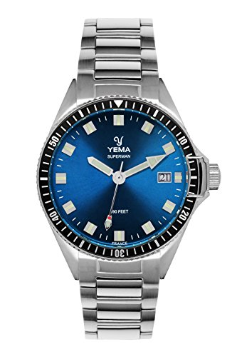 Yema YMHF1557-GM Herren-Armbanduhr Superman Stahlarmband 40 mm 30 Bar