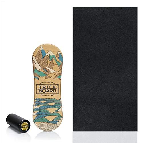 Trickboard All Season Balance Board Set: Brett + Roller + Teppich + Aufkleber kostenlos - Balance Training Skateboard Surfboard Snowboard Wakeboard