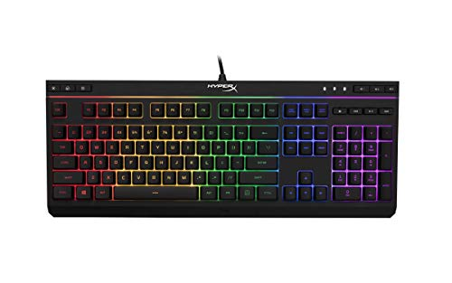 HyperX Alloy Core RGB – Membrane Gaming Keyboard, Comfortable Quiet Silent Keys with RGB LED Lighting Effects, Spill Resistant, Dedicated Media Keys, Compatible with Windows 10/8.1/8/7 – Black
