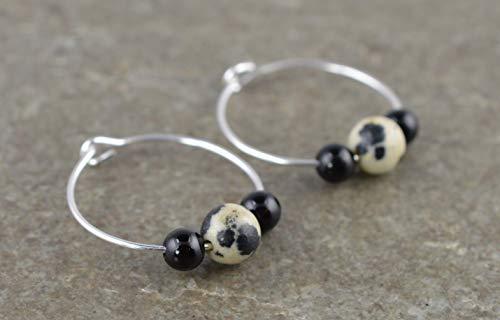 Dalmatian Jasper, Black Onyx Gemstone & 20mm Sterling Silver Hoop Earrings with Gift Box