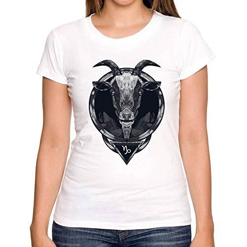 LIULINUIJ Frauen-T-Shirt Sommer Frauen T-Shirt Konstellation Serie Design Steinbock T-Shirt Kurzarm Shirt Weiß Heißen T-Shirts